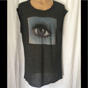 Pam & Gela sheer charcoal gray Eye T Shirt L